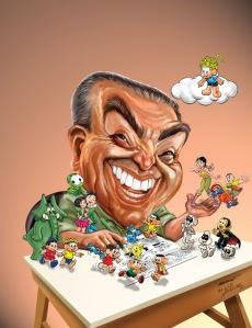 Maurício e suas criações, no traço do cartunista paraibano William